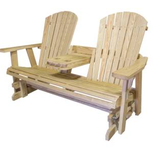 Solid Pine Glider Bench With Folding Armrest